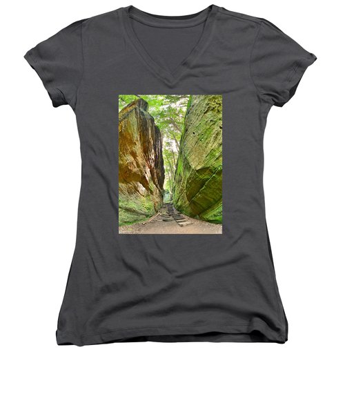 Cantwell Cliffs Trail Hocking Hills Ohio Women's V-Neck