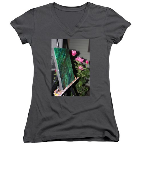 Women's V-Neck T-Shirt featuring the photograph Canvas And Roses by Vadim Levin
