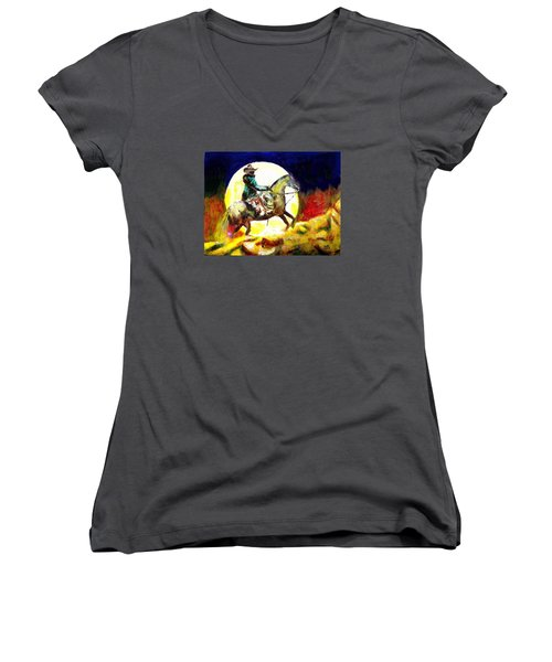 Women's V-Neck T-Shirt (Junior Cut) featuring the painting Canyon Moon by Seth Weaver