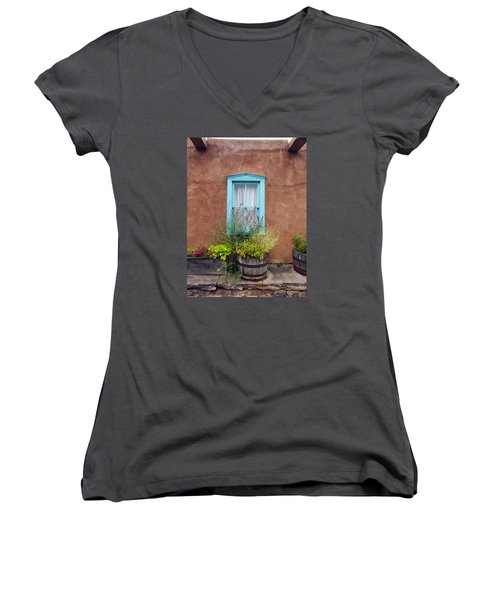 Women's V-Neck T-Shirt (Junior Cut) featuring the photograph Canyon Road Blue Santa Fe by Kurt Van Wagner