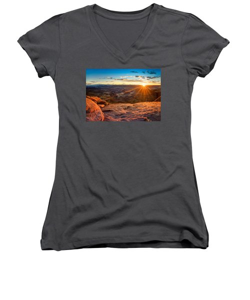 Canyonlands Sunset Women's V-Neck (Athletic Fit)