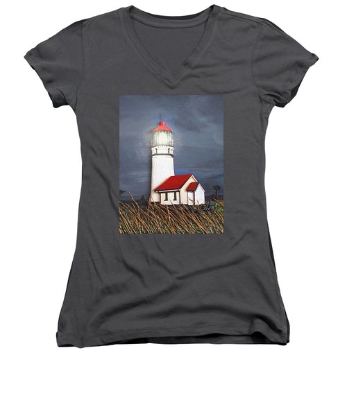 Women's V-Neck T-Shirt (Junior Cut) featuring the relief Cape Blanco Glow by Wendy McKennon
