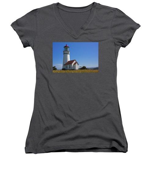Cape Blanco Lighthouse H Women's V-Neck T-Shirt (Junior Cut) by Inge Riis McDonald