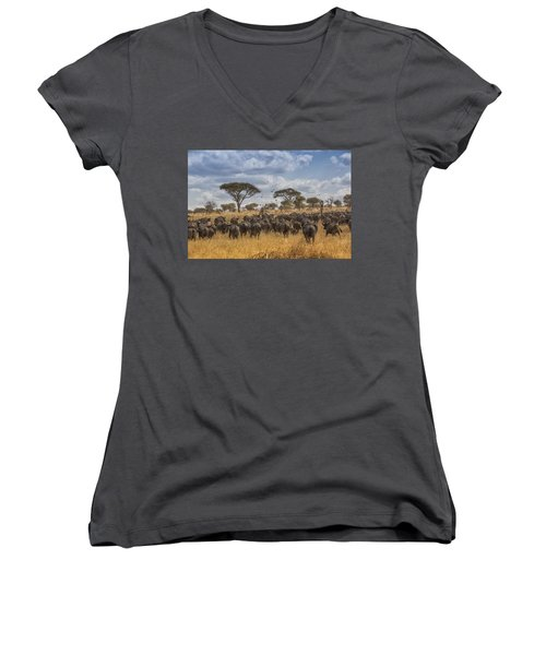 Women's V-Neck T-Shirt (Junior Cut) featuring the tapestry - textile Cape Buffalo Herd by Kathy Adams Clark