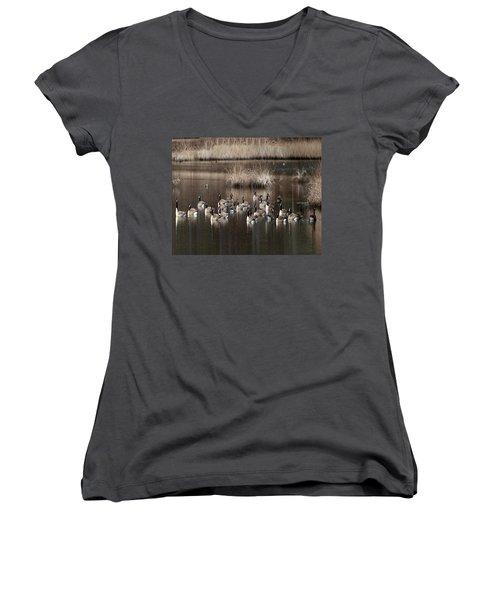 Cape Cod Americana Canada Geese Women's V-Neck T-Shirt