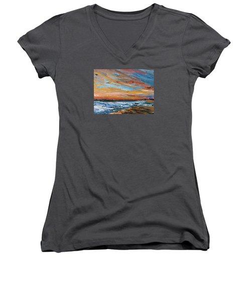 Cape Cod Sunrise Women's V-Neck T-Shirt (Junior Cut) by Michael Helfen
