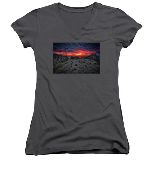 Cape Cod Sunrise Women's V-Neck (Athletic Fit)