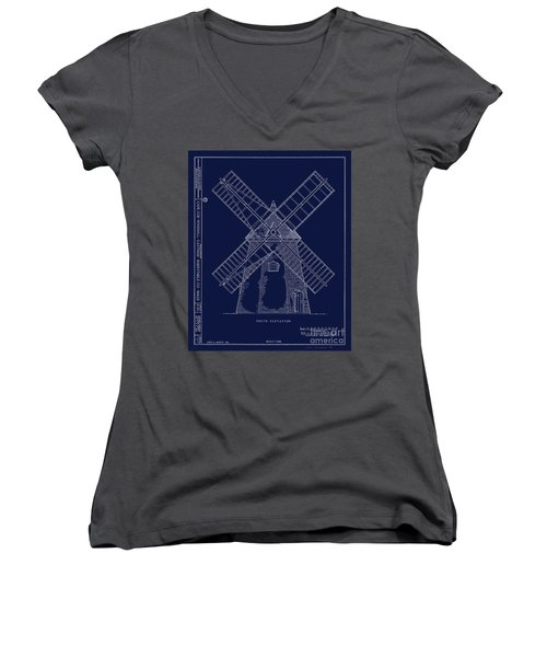 Women's V-Neck T-Shirt (Junior Cut) featuring the photograph Historic Cape Cod Windmill Blueprint by John Stephens