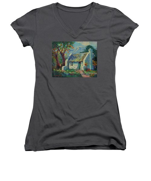 Cape Cottage With Mountains Art Bertram Poole Women's V-Neck T-Shirt (Junior Cut) by Thomas Bertram POOLE