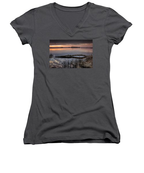 Women's V-Neck T-Shirt (Junior Cut) featuring the photograph Cape Fear Sunset Serenity by Phil Mancuso