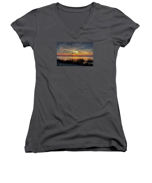 Women's V-Neck T-Shirt (Junior Cut) featuring the photograph Cape Fear Sunset Return by Phil Mancuso