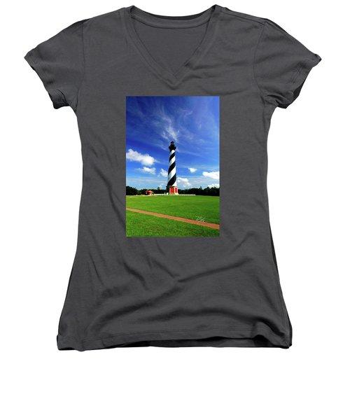Women's V-Neck T-Shirt (Junior Cut) featuring the photograph Cape Hatteras Lighthouse by Meta Gatschenberger