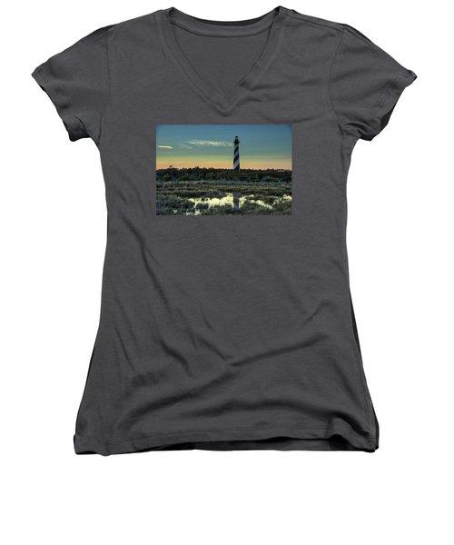 Cape Hatteras Sunset Women's V-Neck T-Shirt (Junior Cut)
