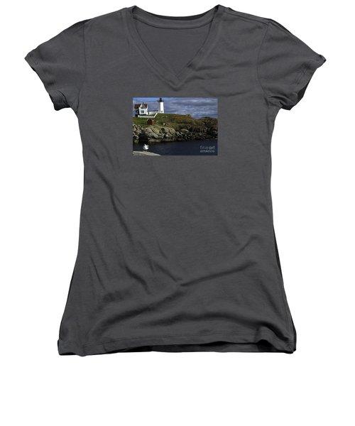 Women's V-Neck T-Shirt (Junior Cut) featuring the photograph Cape Neddick Lighthouse by Mim White