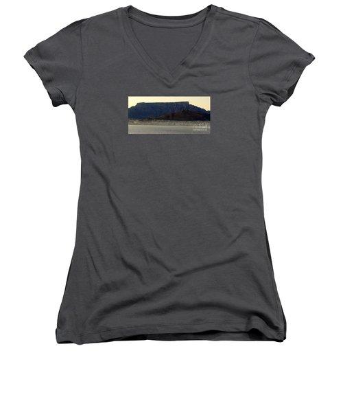 Cape Town Under Table Rock Women's V-Neck T-Shirt (Junior Cut) by John Potts