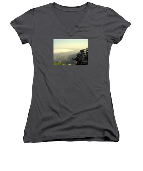 Cape Town View From Table Rock Women's V-Neck T-Shirt (Junior Cut) by John Potts