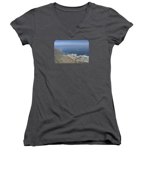 Women's V-Neck T-Shirt (Junior Cut) featuring the photograph Capetown, South Africa by Bev Conover