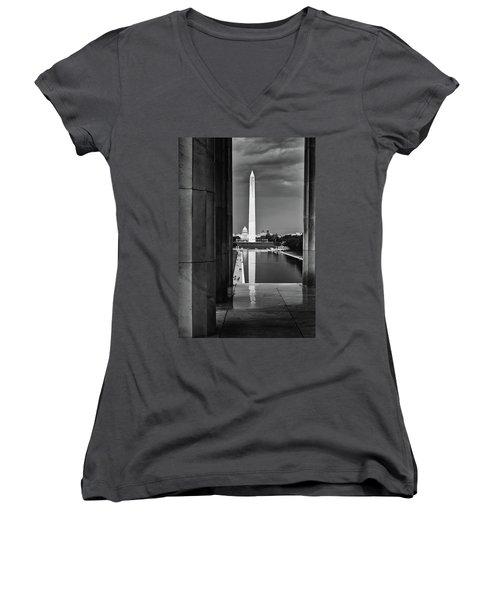 Capita And Washington Monument Women's V-Neck T-Shirt (Junior Cut) by Paul Seymour