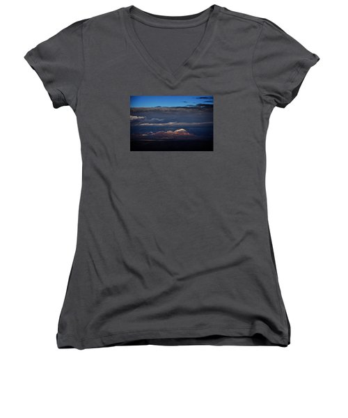 Women's V-Neck T-Shirt (Junior Cut) featuring the photograph Capitol Butte In Sedona With Snow by Ron Chilston