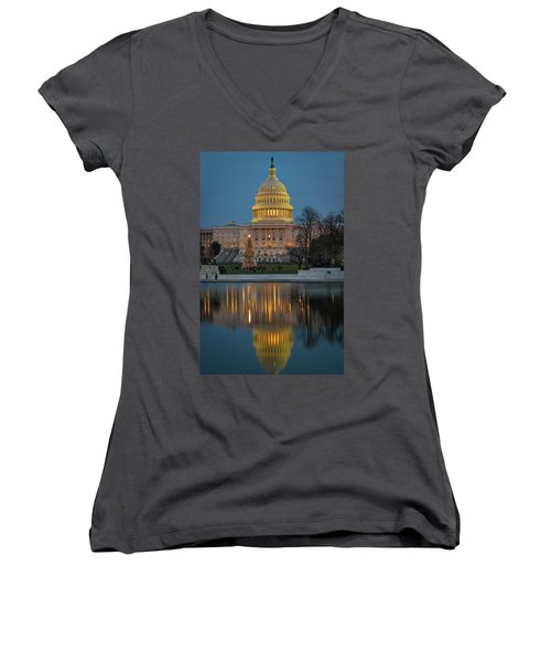 Capitol Reflection At Christmas Women's V-Neck