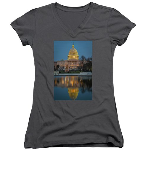 Capitol Reflection At Christmas Women's V-Neck (Athletic Fit)