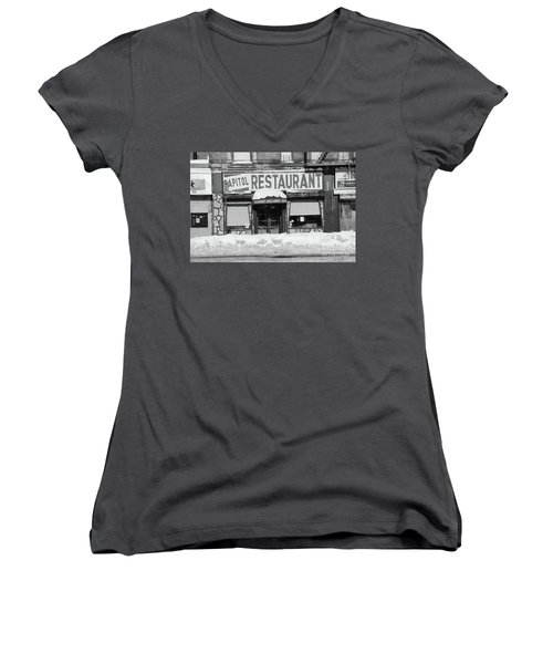Capitol Winter Women's V-Neck T-Shirt (Junior Cut) by Cole Thompson