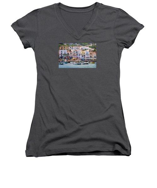 Capri Boat Harbor Women's V-Neck (Athletic Fit)