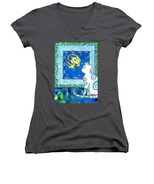 Capricorn Cat Zodiac Women's V-Neck