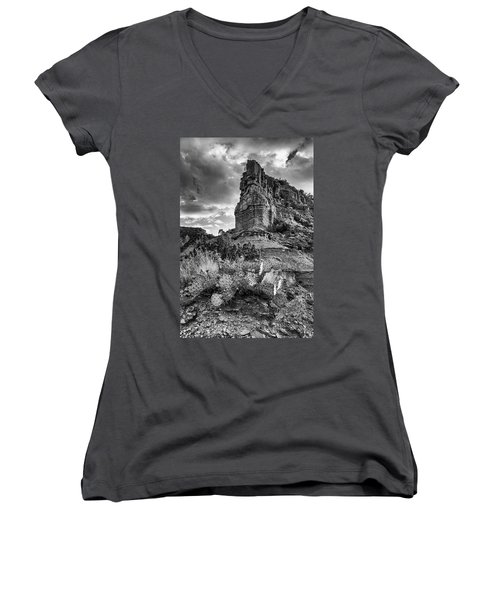Women's V-Neck T-Shirt (Junior Cut) featuring the photograph Caprock And Cactus by Stephen Stookey
