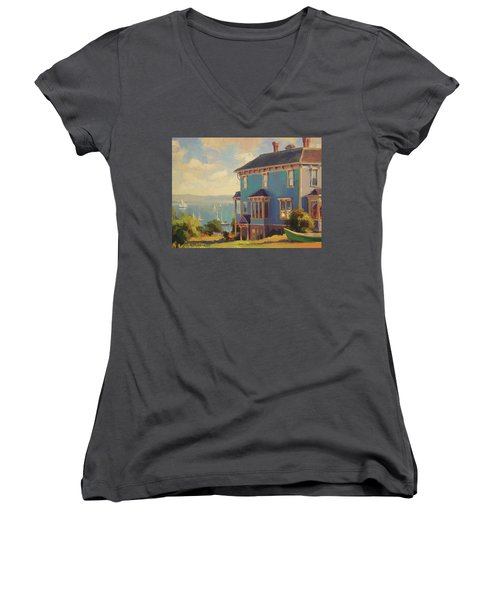 Women's V-Neck featuring the painting Captain's House by Steve Henderson
