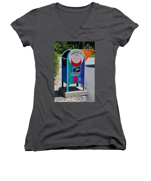 Women's V-Neck T-Shirt featuring the photograph Captiva Island Mailbox- Vertical by Michiale Schneider
