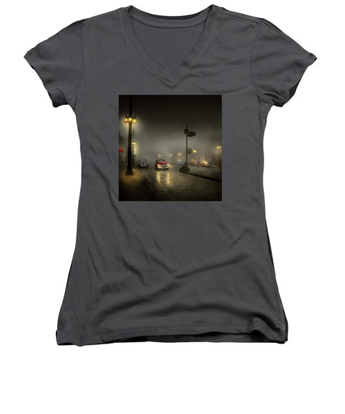 Women's V-Neck T-Shirt (Junior Cut) featuring the photograph Car - Down A Lonely Road 1940 by Mike Savad