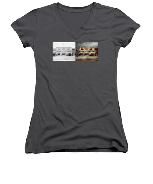 Women's V-Neck T-Shirt (Junior Cut) featuring the photograph Car - Garage - Hendricks Motor Co 1928 - Side By Side by Mike Savad
