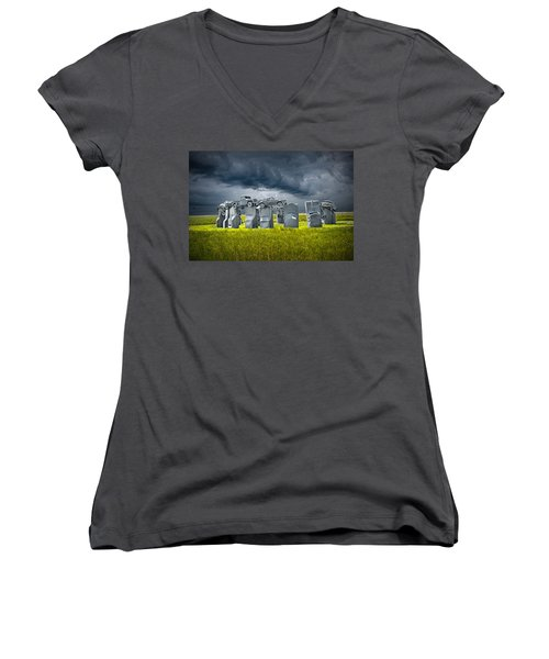 Car Henge In Alliance Nebraska After England's Stonehenge Women's V-Neck (Athletic Fit)