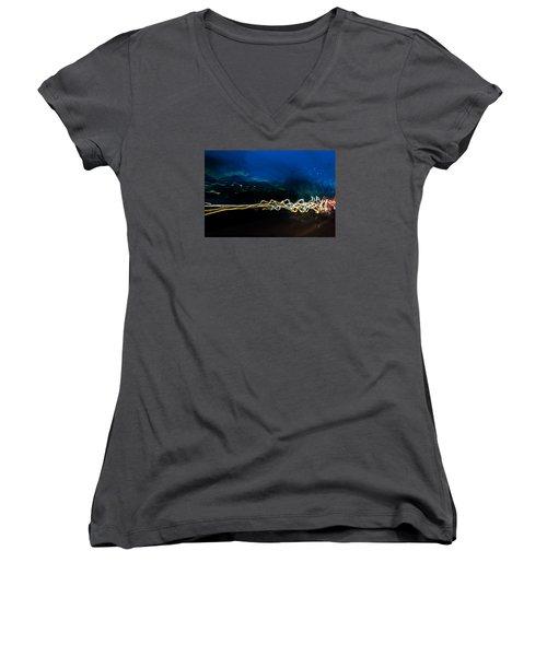 Car Light Trails At Dusk In City Women's V-Neck T-Shirt (Junior Cut) by John Williams