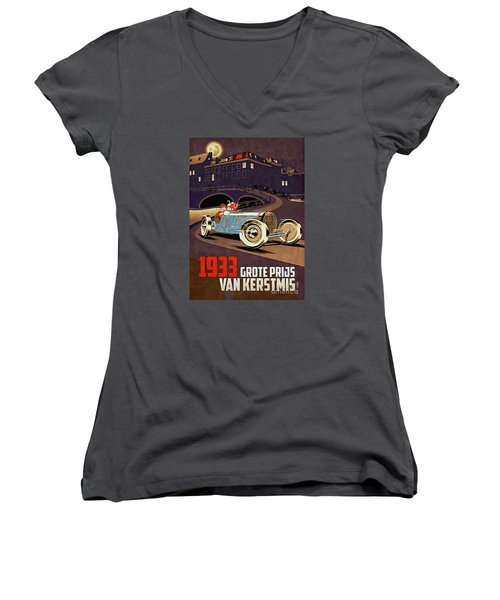 Car Racing Christmas Poster Of The 30s Women's V-Neck (Athletic Fit)