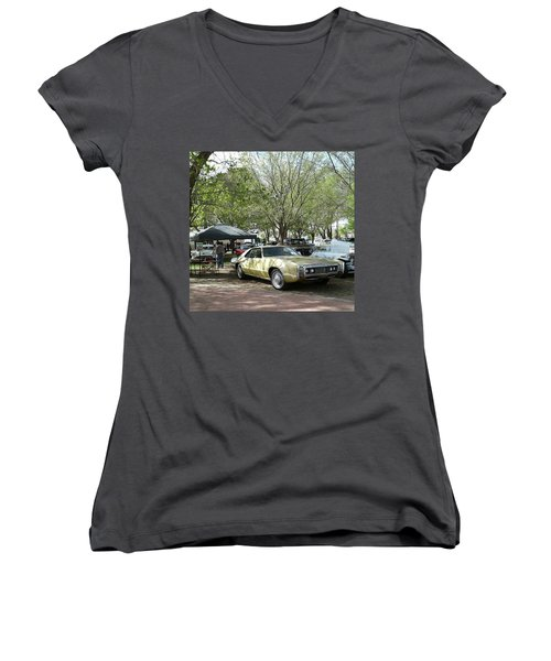 Women's V-Neck T-Shirt (Junior Cut) featuring the pyrography Car Show Saturday by Jack Pumphrey