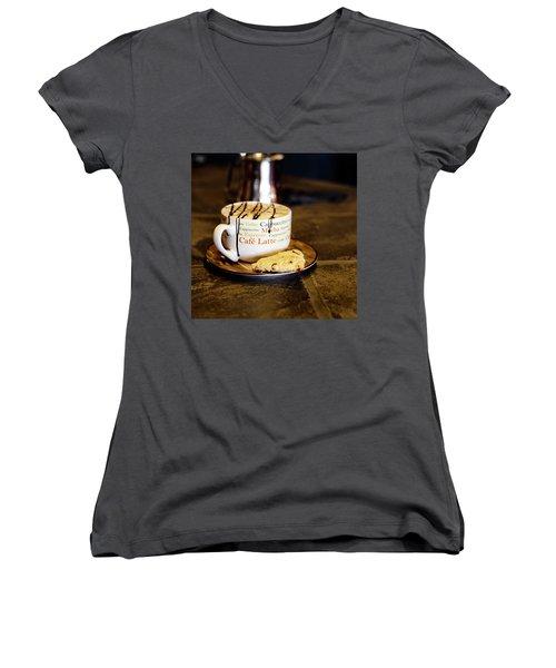 Caramel Macchiato With Scone Women's V-Neck T-Shirt (Junior Cut)