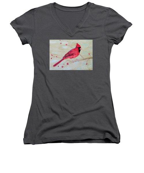 Cardinal II Women's V-Neck T-Shirt (Junior Cut) by Laurel Best