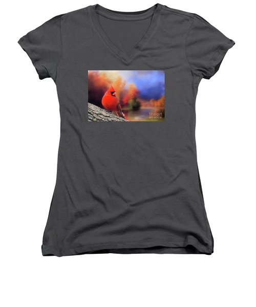 Cardinal In Autumn Women's V-Neck T-Shirt (Junior Cut) by Janette Boyd