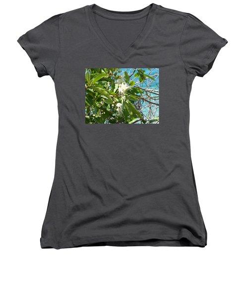 Caribbean Honeysuckle Women's V-Neck T-Shirt (Junior Cut) by Margaret Brooks