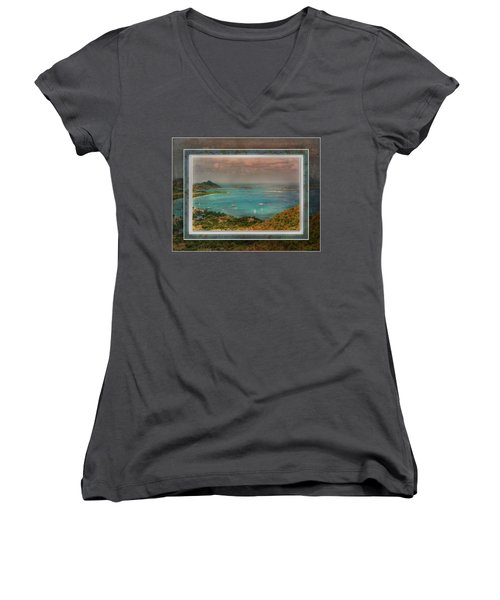 Women's V-Neck T-Shirt featuring the digital art Caribbean Symphony by Hanny Heim