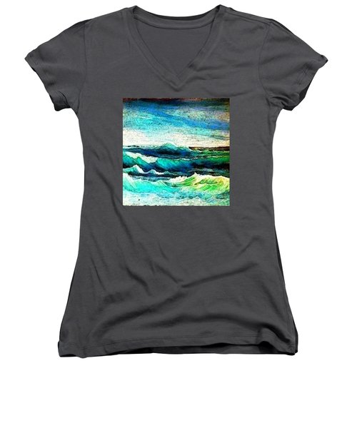 Caribbean Waves Women's V-Neck T-Shirt (Junior Cut) by Holly Martinson