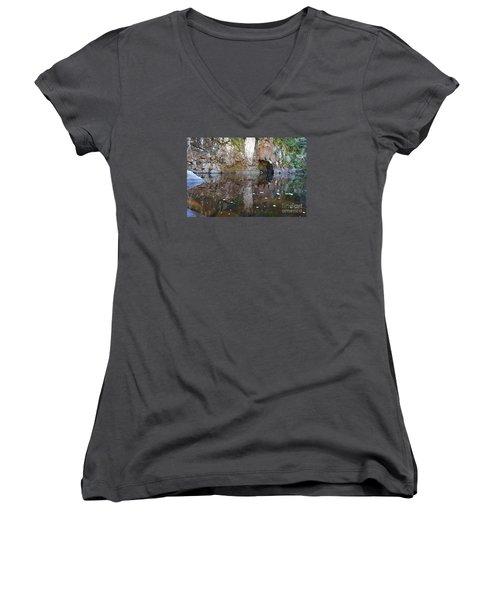 Women's V-Neck T-Shirt (Junior Cut) featuring the photograph Carlson Creek by Sandra Updyke
