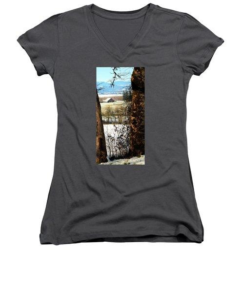 Carlton Barn Women's V-Neck T-Shirt (Junior Cut) by Jerry Sodorff