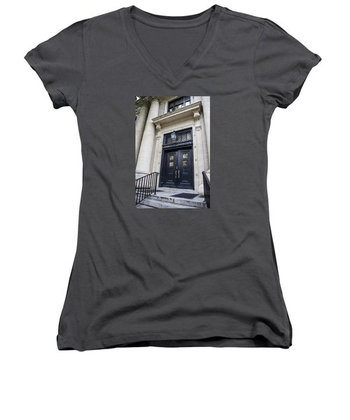 Carnegie Building Penn State  Women's V-Neck T-Shirt (Junior Cut) by John McGraw