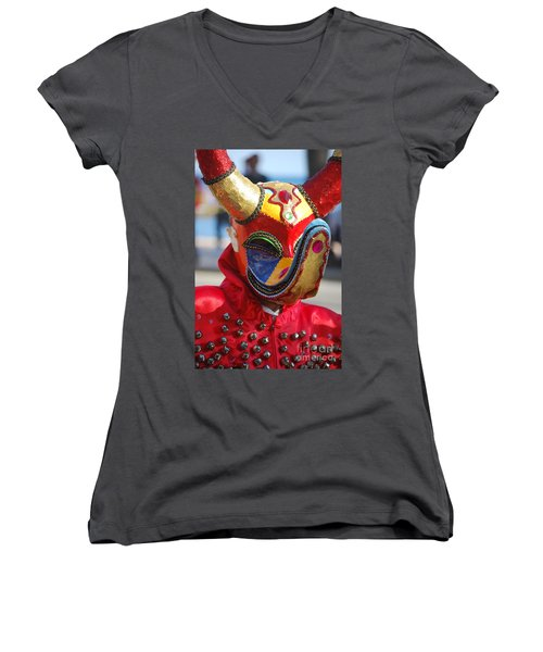 Carnival Red Duck Portrait Women's V-Neck T-Shirt (Junior Cut) by Heather Kirk