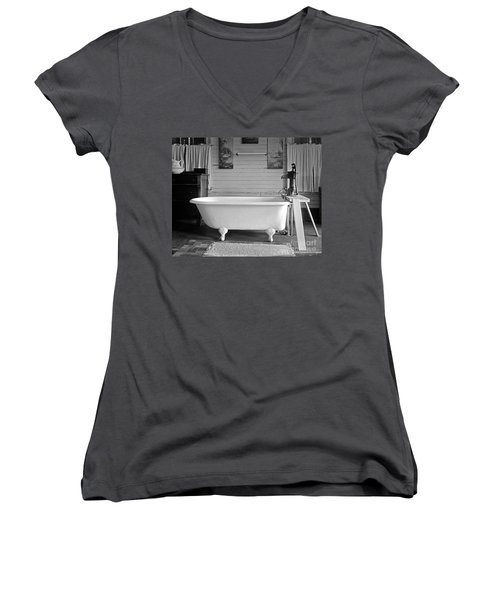Women's V-Neck T-Shirt (Junior Cut) featuring the photograph Caroline's Key West Bath by John Stephens