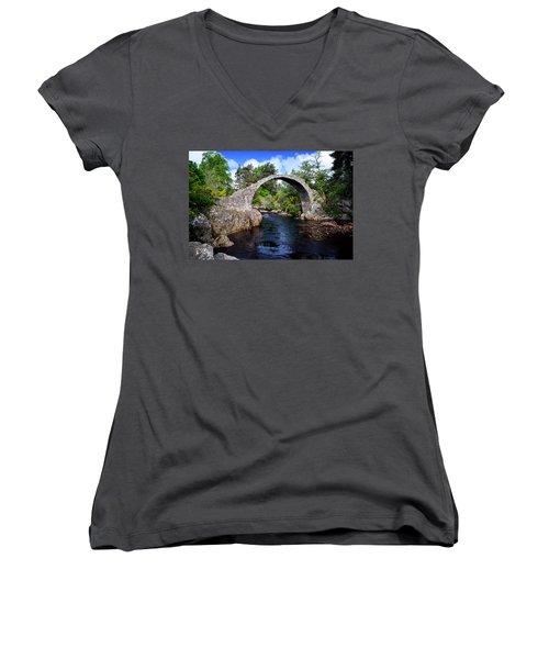 Carr Bridge Scotland Women's V-Neck T-Shirt (Junior Cut) by Don and Bonnie Fink