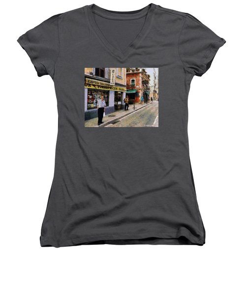 Women's V-Neck T-Shirt (Junior Cut) featuring the painting Carrer Dosrius by Kai Saarto